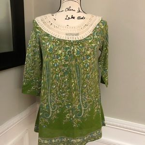 Anthropologie Meadow Rue Knit Green Floral Blouse